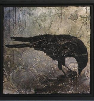 Crow Down - diptych-B - 2012 - silver leaf and acrylic on cradled birch