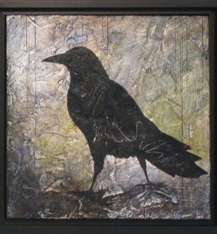 Crow Up - diptych-A - 2012 - silver leaf and acrylic on cradled birch